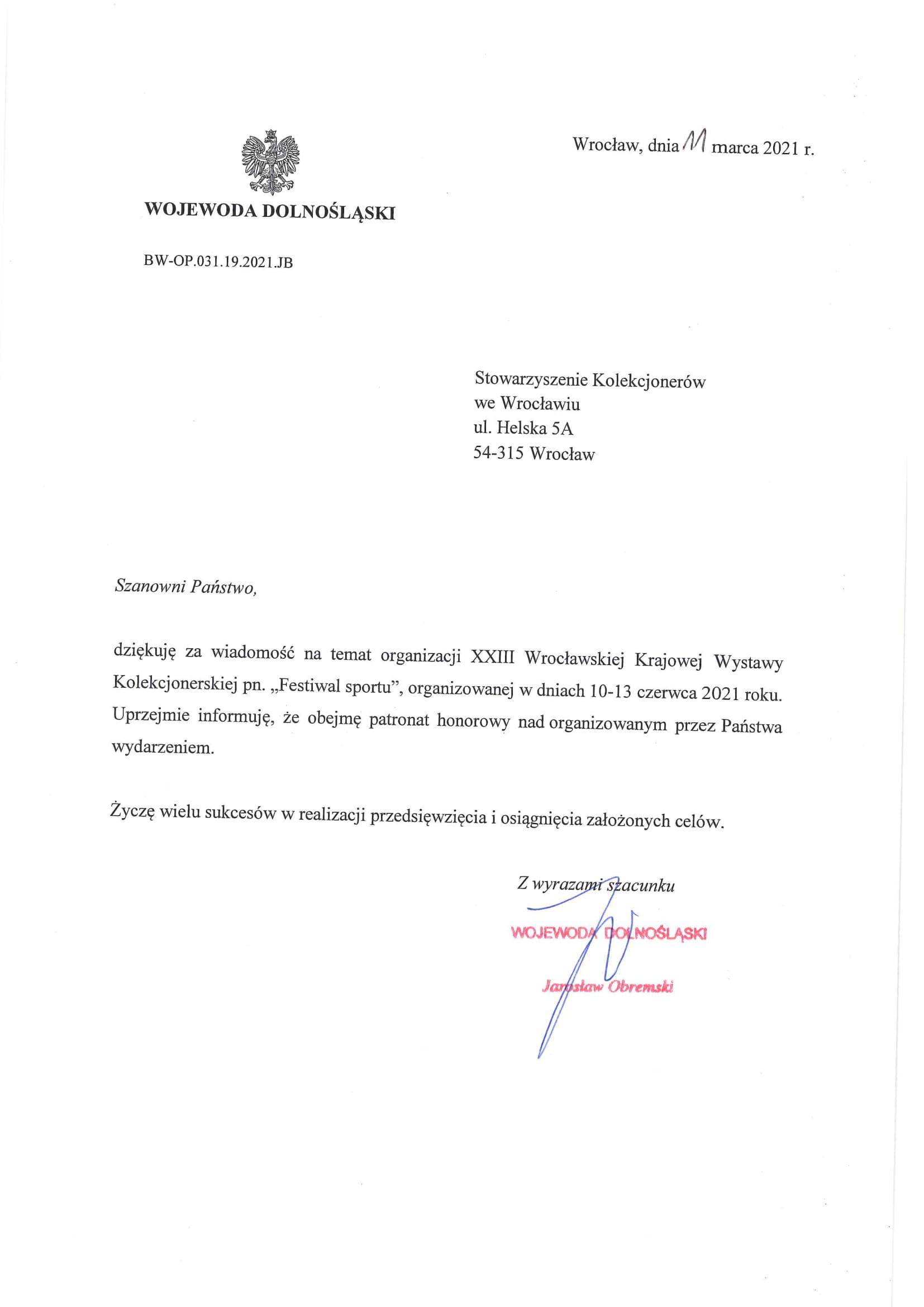 odpowiedź wojewody dolnośląskiego ws. patronatu-1